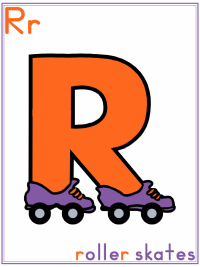 Alphabet Letter R Roller skates - Preschool Lesson Plan Printable Activities and Worksheets