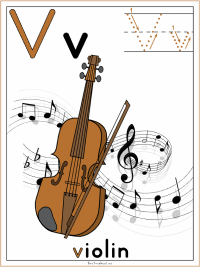 Alphabet Letter V Violin