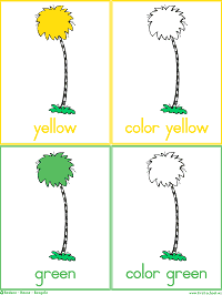Colorful Trees Colors Flash Cards and Color Words Worksheets