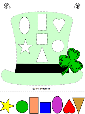 St. Patrick's Day Leprechaun Hat - Colors and Shapes Preschool Printable Activity