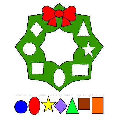 christmas wreath colors and shapes printable activity