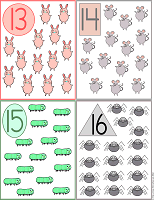 printable flash cards 13 to 16 farm animals