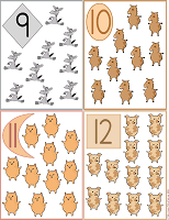 printable flash cards 9 to 12 farm animals