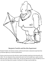 Benjamin Franklin and the kite experiment coloring page