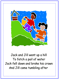 jack and jill nursery rhyme poster