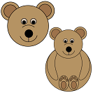 Easy Shapes Teddy Bear Craft (head only or with body)
