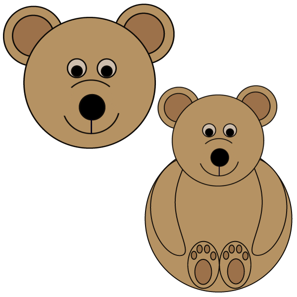 Bear or Teddy Bear Craft - Circles Shape Preschool Printable Activities