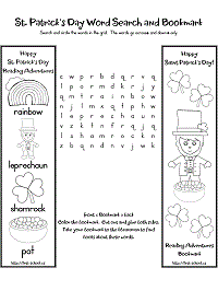 st. patrick's day word search and bookmark